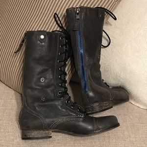 Steve Madden Leather Foldover Lace Up Boots